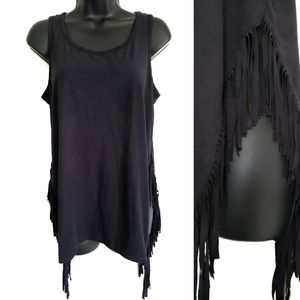 Mossimo Black Faux Suede Fringe High Cut Tank Top
